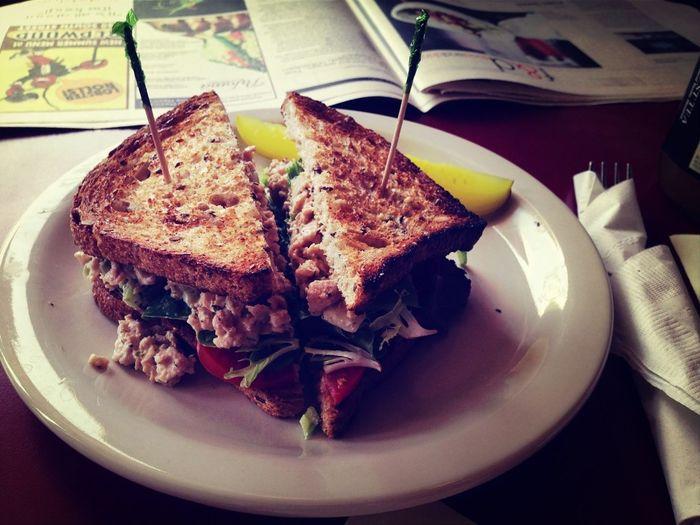 Vegetarian Chicken and Eggless Egg Sandwich
