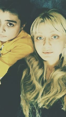 Hello World Woman Of EyeEm Indoors  People Blond Hair Front View Long Hair Lifestyles Two People Looking At Camera Togetherness Adult Son My Love Life Resting My Son Is My Sun ♥ No Make-up Selfie ✌