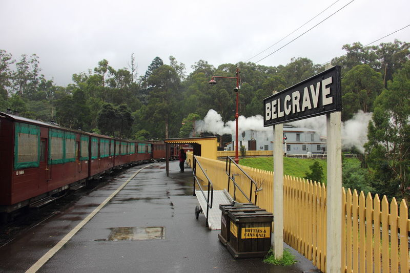The vintage railway station in Belgrave, the main station for Puffing Billy Train. Australia Australia & Travel Belgrave Dandenong Ranges Editorial  Puffing Billy Rail Transportation Railroad Track Sky Train - Vehicle Train Station Transportation Tree