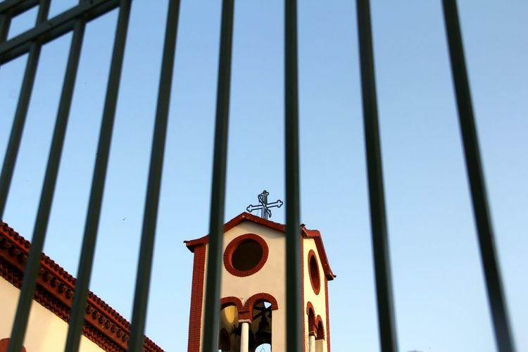 Fine Art Photography Church Sky Fence Thessaloniki Greece Cross