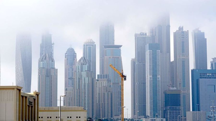 Skyscraper City Architecture Built Structure Tall - High Modern Urban Skyline Foggy Dubai❤ UAE Creativity Dubai Photography