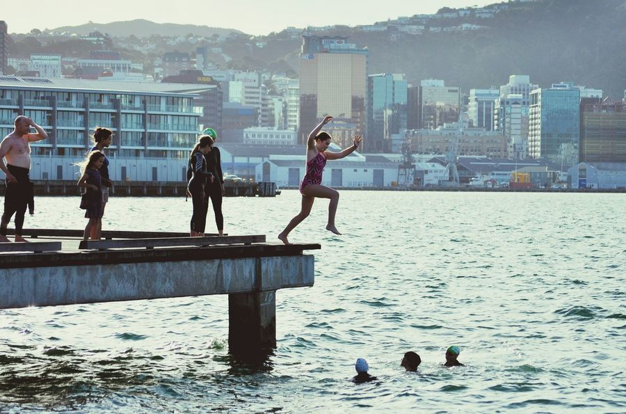 JUMP! People Jump Harbour Waterfront Summertime City City Life Cityscapes Lifestile Fun Funtimes Friends Happy People Enjoying Life Wellington Harbour New Zealand Water Ocean Oceancitycool