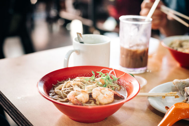 Laksa of Kuching. Food And Drink Bowl Chopsticks Close-up Day Focus On Foreground Food Food And Drink Freshness Healthy Eating Indoors  Laksa No People Plate Ready-to-eat Seafood Serving Size Soup Table Traditional