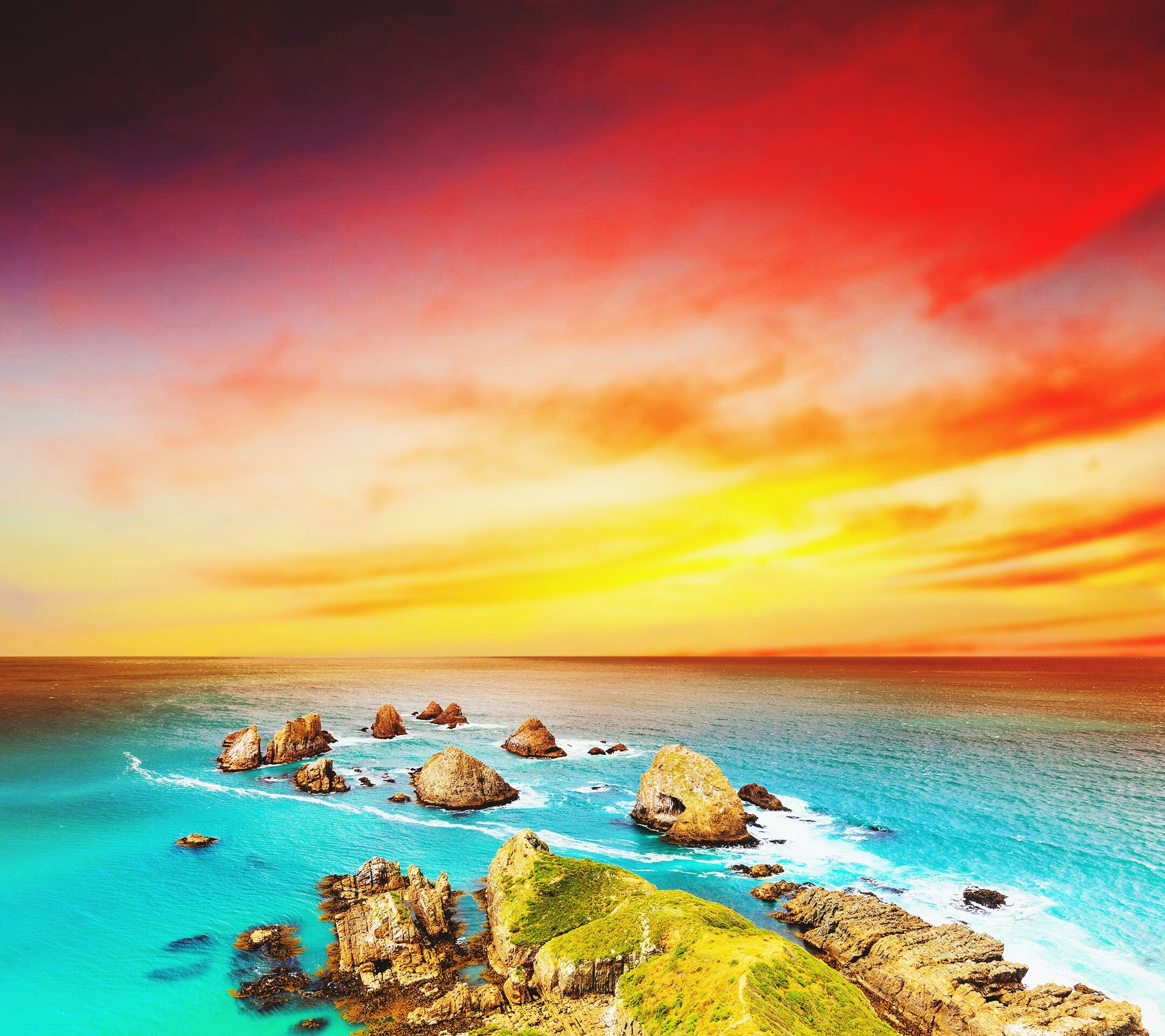 sea, horizon over water, water, sunset, scenics, beauty in nature, tranquil scene, sky, tranquility, orange color, beach, nature, rock - object, idyllic, shore, cloud - sky, cloud, outdoors, remote, rock formation