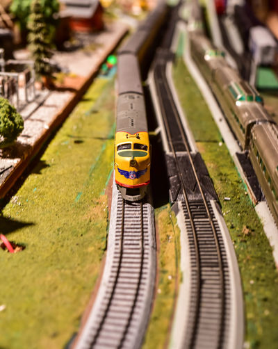 High angle view of toy train set
