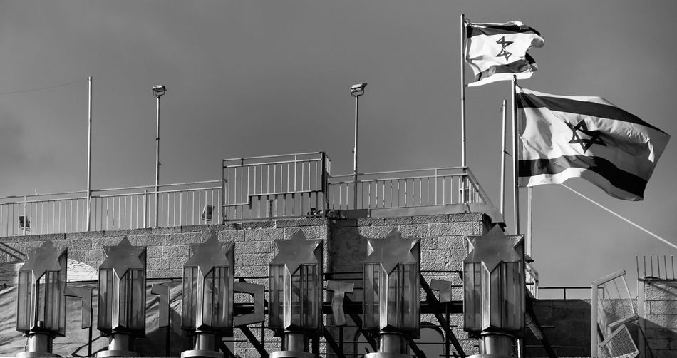 stars over Jerusalem Architecture Building Exterior Built Structure City Life Flag Flagge Identity Israel Jerusalem Klagemauer Low Angle View Metal No People Patriotism Roof Stars Sterne  Urban Urbanphotography Wailing Wall