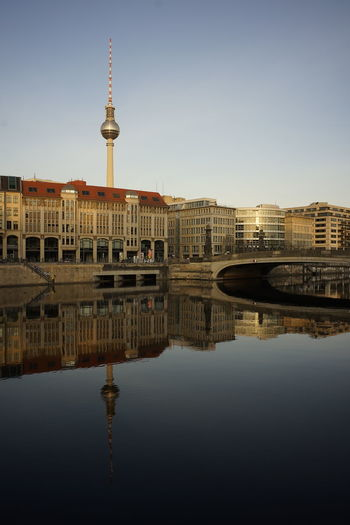 Reflection of television tower in berlin in river spree at museum island