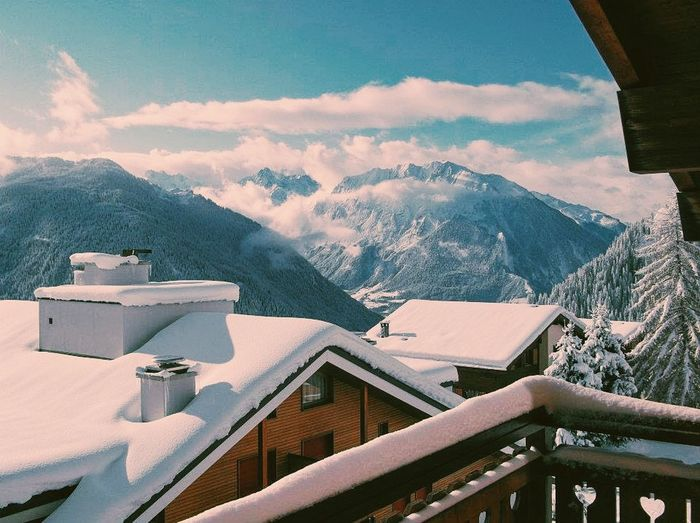View from my room in Verbier Verbier Mountains Mountain View Snow Skiing Switzerland Adventure Taking Photos Beautiful