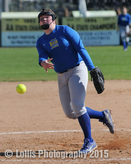 Wren Hurricanes Softball Pitcher throws a pitch during a Softball Tournament   She pitched and won all four games during the tournament. Sports Photography Wren High School