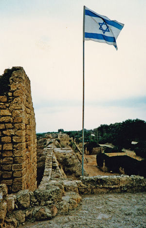 The Isdraeli flag flying abaove the Louis IX France fort at Caesarea, near Tel Aviv, Israel Architecture Nature Sky Landscape Tree Flag Day Outdoors Caesarea No People Israeli Flag A Taste Of Israel Louise IX Of France