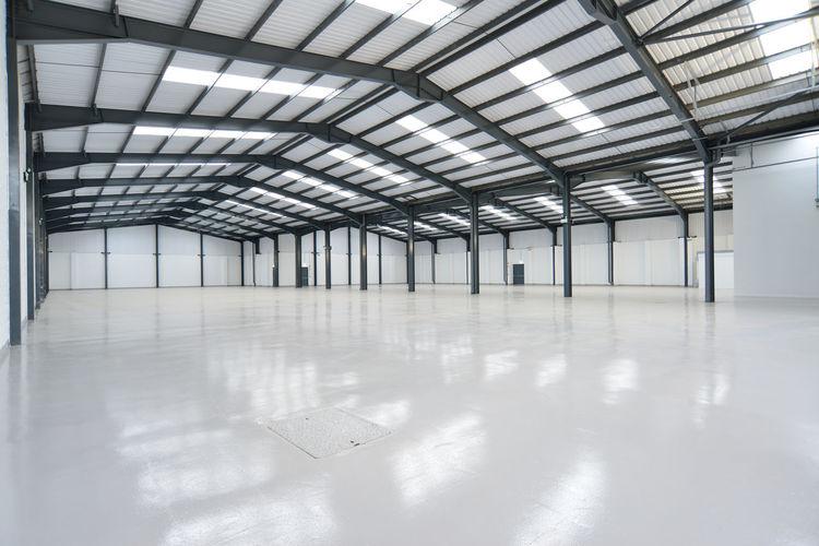 Empty illuminated warehouse