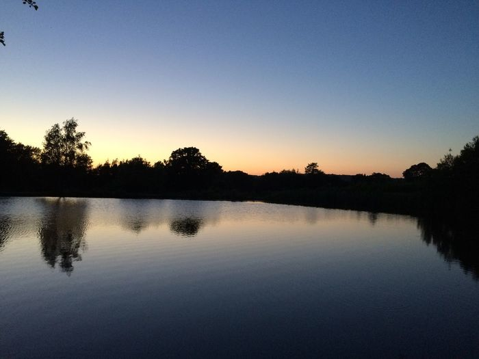 Water Sunset Reflection Lake Tree Tranquil Scene Silhouette Nature Clear Sky No People