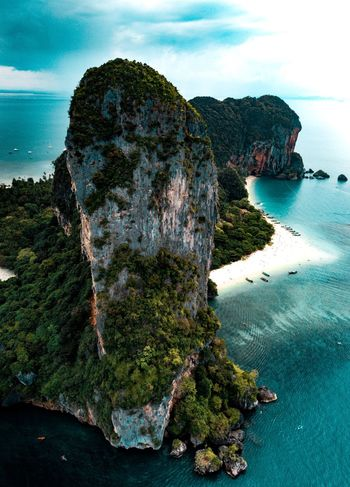 Thai Islands Beach Tropical Rainforest Jungle World Traveller Holiday Vacation Island Ocean Aerial Drone  Adventure Explore Travel Railay Krabi Thailand Rock - Object Scenics Tranquility Outdoors Mountain Water Beauty In Nature