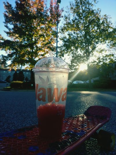 Sunnyday Drink Cold Drink Outdoors Tree Slurpee Skateboard Pennyboard Passion Love Love ♥ Sun Sunday Morning Day
