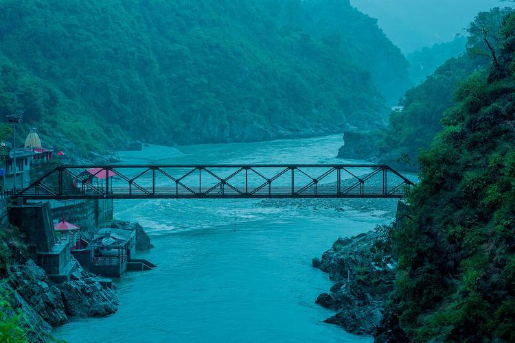 Bridge over sea against trees