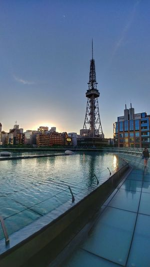 Nagoya Tv Tower Japan TV Tower Water Urban Skyline Business Finance And Industry Building Exterior Built Structure