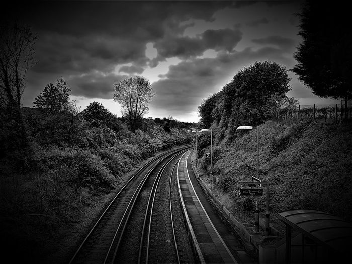 Black And White Cloud - Sky Cloud Sky-nice View Corner Day East Farleigh Kent Kent England Leading Lines Lines Maidstone Medway Valley No People Outdoors Rail Transportation Railway Station Platform Railway Track Railway Tracks Sky Southeastern Railway Station Platform Train Tracks Transportation Tree Trees And Sky