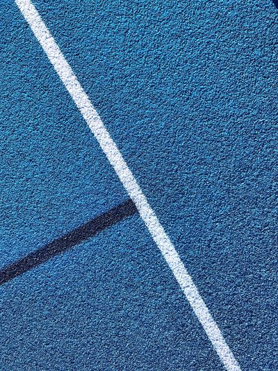 High angle view of yard lines on running track