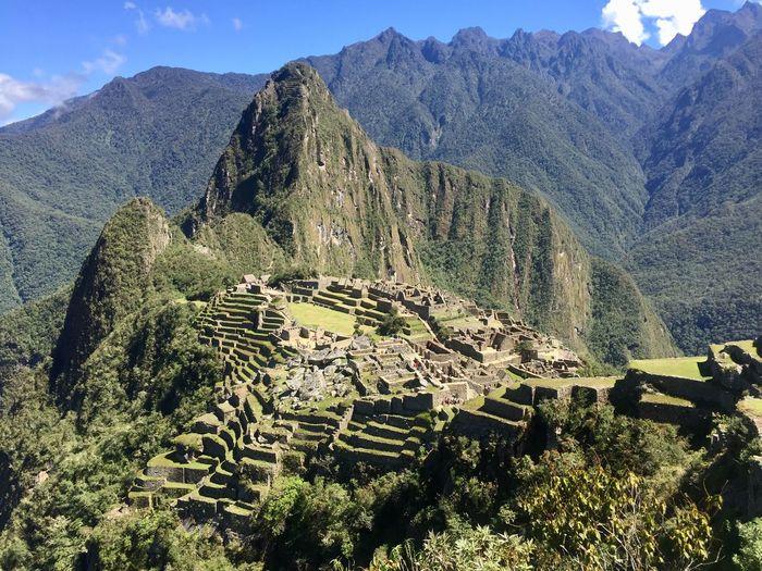 Macchu Picchu Follow Followme Travel Peru Cusco Inca Macchu Picchu Mountain Mountain Range Scenics Nature Tranquil Scene Beauty In Nature Day Tranquility High Angle View Outdoors Landscape No People Agriculture Tree Terraced Field Sky