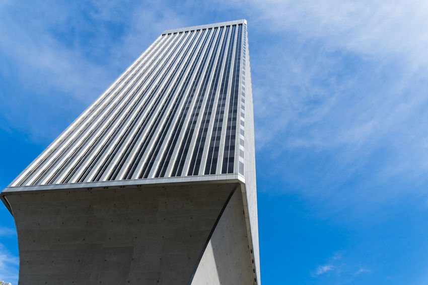 Rainier tower in downtown Seattle looking up in color. Architecture Building Business Copy Space Design Downtown Dystopian Growth Looking Up Modern No People Office Ominous Rainier Tower Seattle Sky Travel
