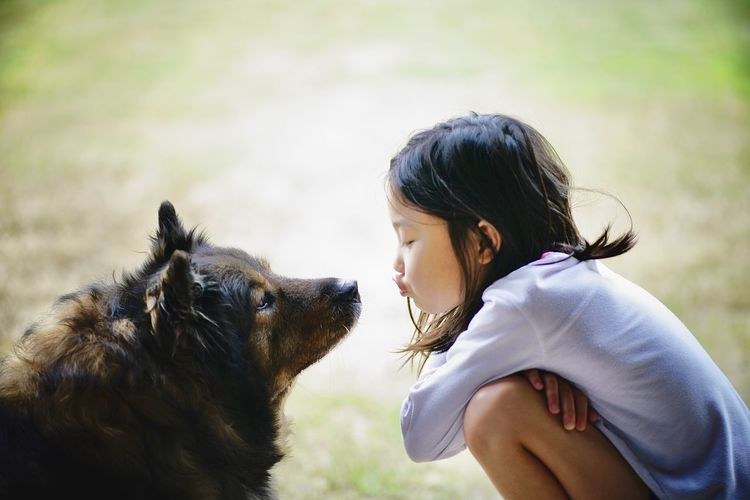 Side view of girl kissing dog