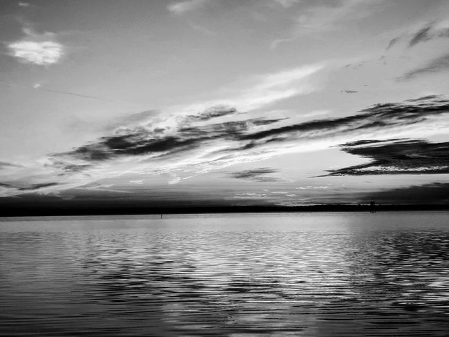 black and white sunrise Blackandwhite Water Reflection Tranquil Scene Cloud - Sky Landscape Dramatic Sky Horizon Over Water