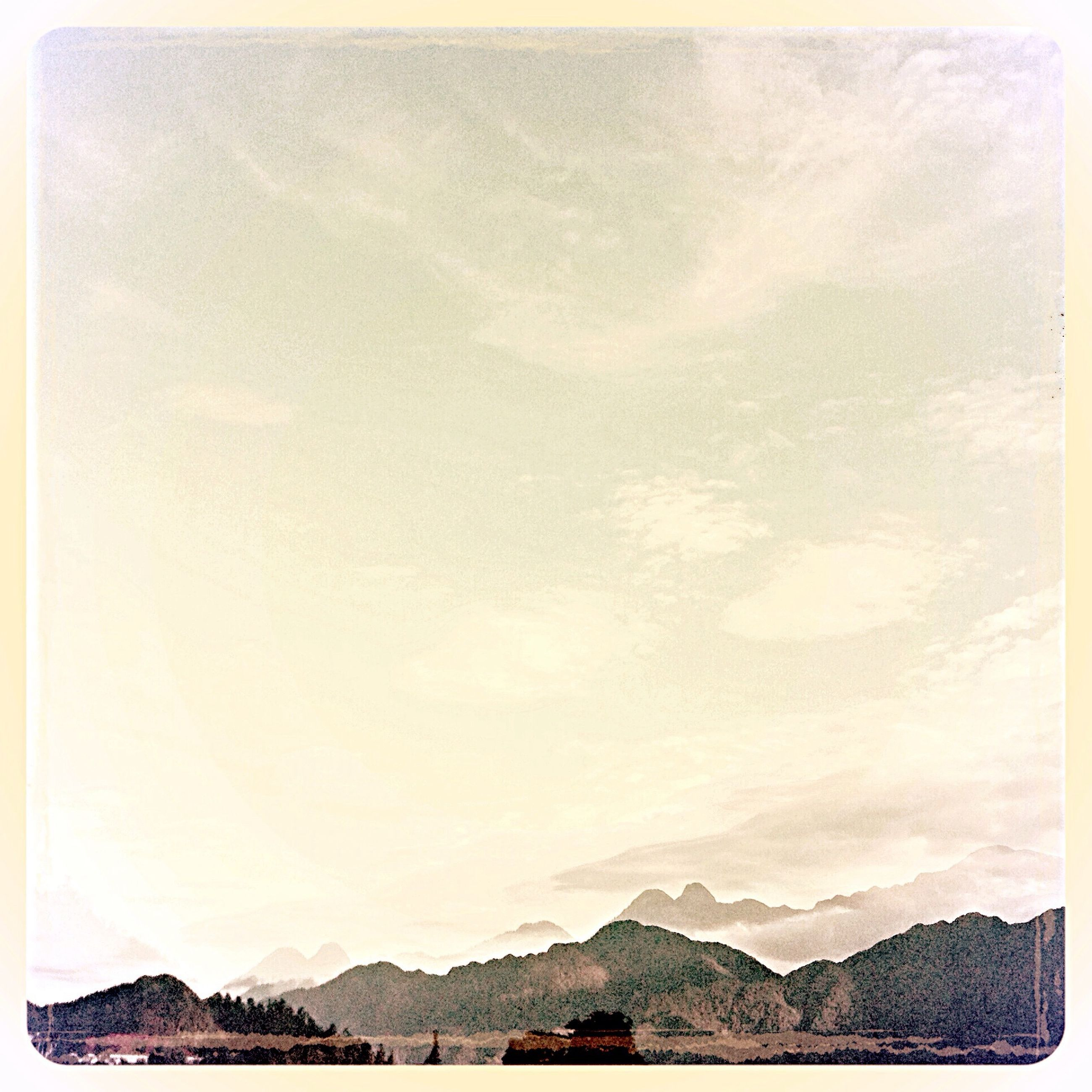 transfer print, auto post production filter, snow, winter, cold temperature, tranquility, tranquil scene, weather, beauty in nature, scenics, nature, season, white color, landscape, mountain, high angle view, covering, panoramic, outdoors, day