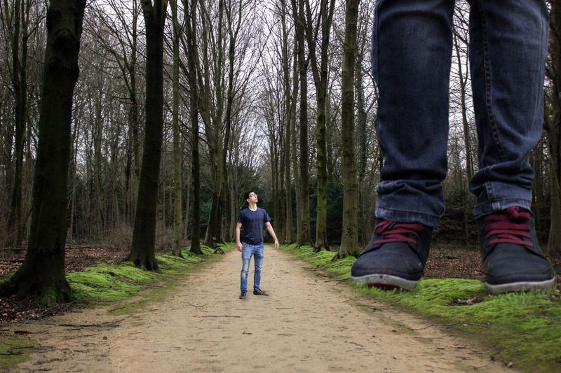 Alter Ego Giant Boy Man Woods Forest Forestwalk Trees Path Pathway Light Nature Shadow Presence Two Faith Brave Courage Sky Surreal Conceptual Shoes Blue Green