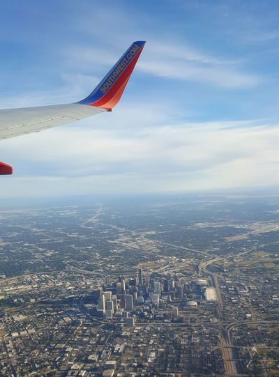 Fly over downtown Houston Flying Sky Airplane Cityscape Travel Aerial View Urban Skyline Architecture Houston