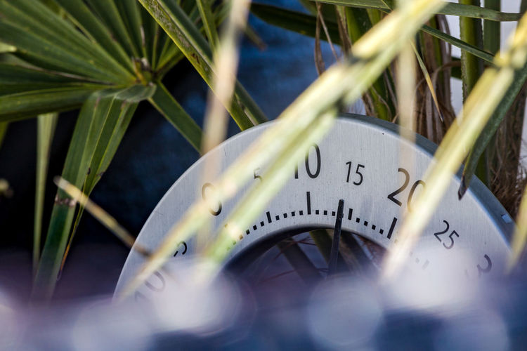 Close-up of clock against blurred background
