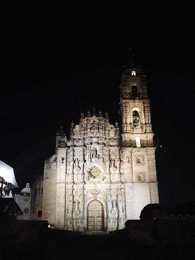 Architecture Built Structure Building Exterior Night Religion Place Of Worship Low Angle View Clear Sky History Travel Destinations Illuminated Tourism Sky Spirituality Medieval No People Outdoors Tepotzotlan Pueblo Mágico Mexico