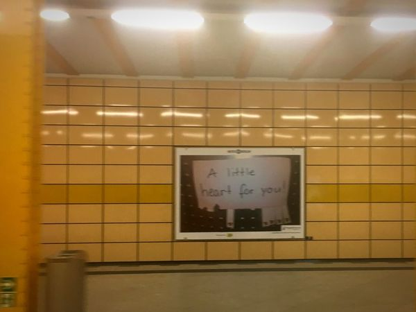 A little heart for you ! Weberwiese Notes Of Berlin Indoors  Text Wall - Building Feature No People Subway Station Sign Subway Wall