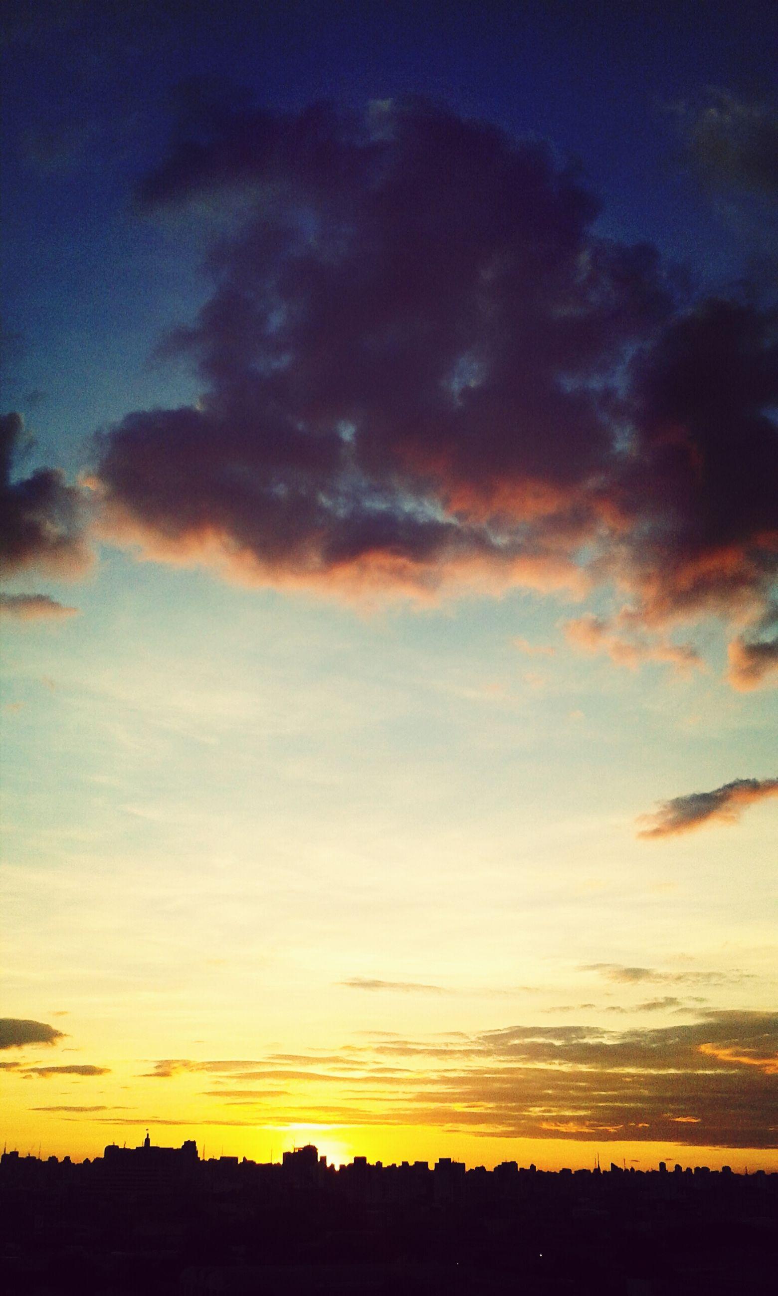 sunset, silhouette, sky, scenics, beauty in nature, tranquil scene, orange color, tranquility, landscape, cloud - sky, dramatic sky, nature, idyllic, cloud, field, moody sky, outdoors, no people, dark, majestic