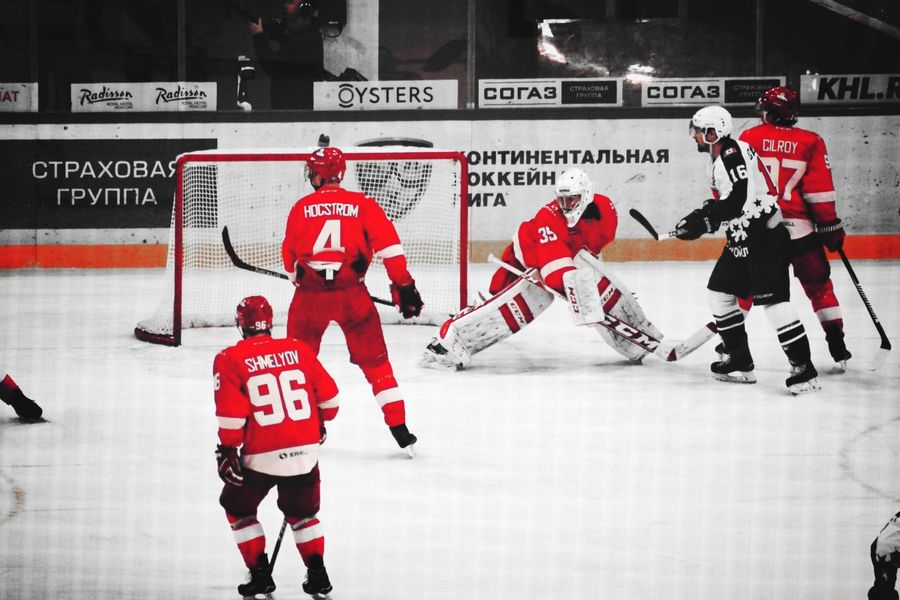 Full Length Red Men People KHL Red Day Indoors  Indoors  Black,whiteandred Spartak Moscow Close-up Russia россия Moscow, Москва Ice Rink Teamwork Ice Hockey Stadium