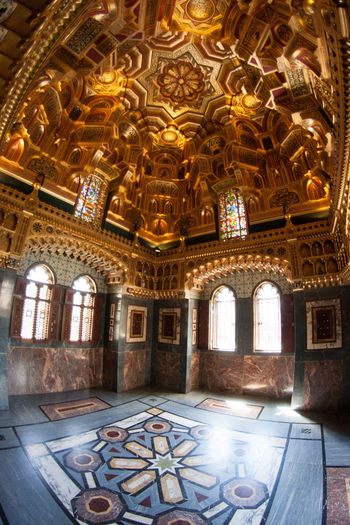 """Arab Room"" in Cardiff Castle 43 Golden Moments Architectural Feature Castle Ceiling Design Golden Illuminated Mosaic Ornate Travel Destinations"