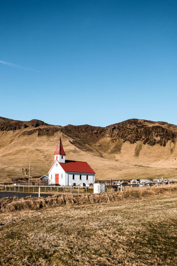 Church Iceland Red Architecture Building Clear Sky Grass Land Landscape No People Sky Yellow