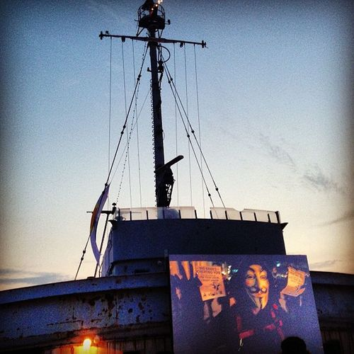 Movie on a boat. Nice touch :)