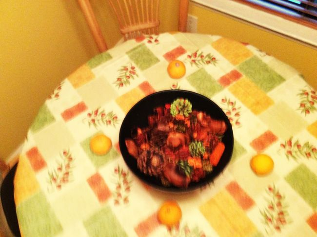Essentialtremorsawareness Blurred Motion High Angle View Food Indoors  Tablecloth Table Bowl LongIslandNY Fruitporn Yellow Yellow Color