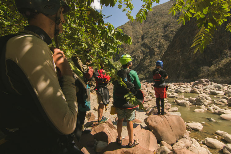 Amazonas Extreme Extreme Sports Kayak Leisure Activity Lifestyles Marañón Marañón Outdoors Peru Rafting Real People River Standing Togetherness Trip