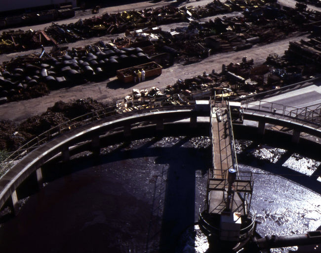 High angle view of bridge and buildings in city