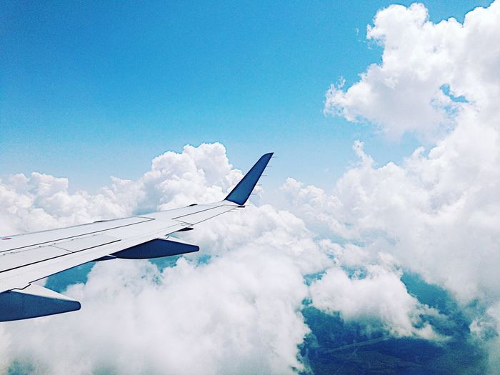 Clouds Landscape EyeEm Best Shots Canada EyeEm Selects Airplane Cloud - Sky Sky Transportation Air Vehicle Flying Blue Outdoors Nature Airplane Wing No People Mode Of Transport Day Journey The Traveler - 2018 EyeEm Awards