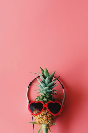 Pineapple on colored background