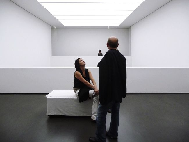 White cube... White Album Architecture Architecture_collection Adults Only Indoors  Men Standing Full Length Togetherness Mature Men Mature Adult Meeting Communication Real People People Cooperation Arc+