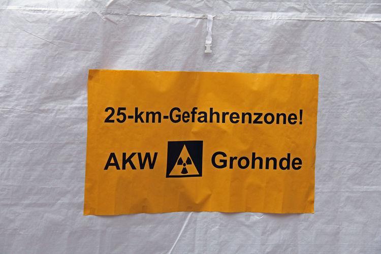 AKW Antiatomdemo Atomic Atomkraft Nein Danke! Black Color Close-up Communication Day Demo Demonstration Gefahrengebiet Indoors  Kernkraft Kernkraftwerk No People Text Yellow