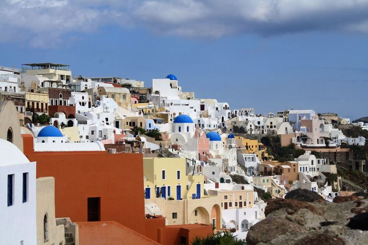 Architecture Blue Building Building Exterior Built Structure City Cityscape Cloud Cloud - Sky Cloudy Community Day Elevated View House Nature Outdoors Residential Building Residential District Residential Structure Roof Sky Town TOWNSCAPE Santorini, Greece Santorini