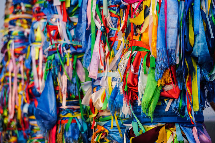 Full frame shot of multi colored ribbons