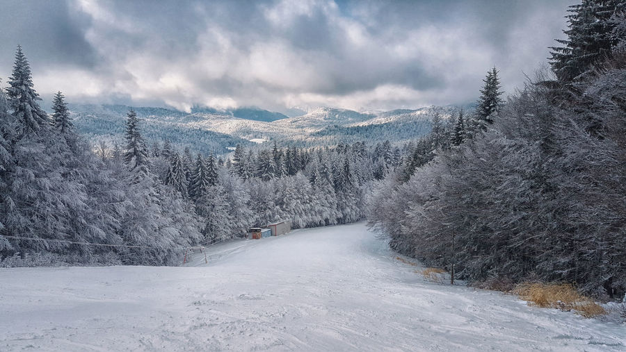Winter mountains panorama with ski slope Snow Cold Temperature Winter Tree Scenics - Nature Beauty In Nature Cloud - Sky Mountain Nature White Color Tranquility Landscape No People Snowcapped Mountain Pine Tree Coniferous Tree Skiing Slope EyeEmNewHere Resort Sports Season  Holidays Frost Outdoors