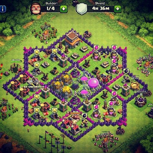 Clashofclans CoC Supercell My Village Base Townhall 8 Awesome Design Pattern Star Four Builder Gold Elixir Tesla Canon Mortor Wizard Tower My Account Name Is somu dragon