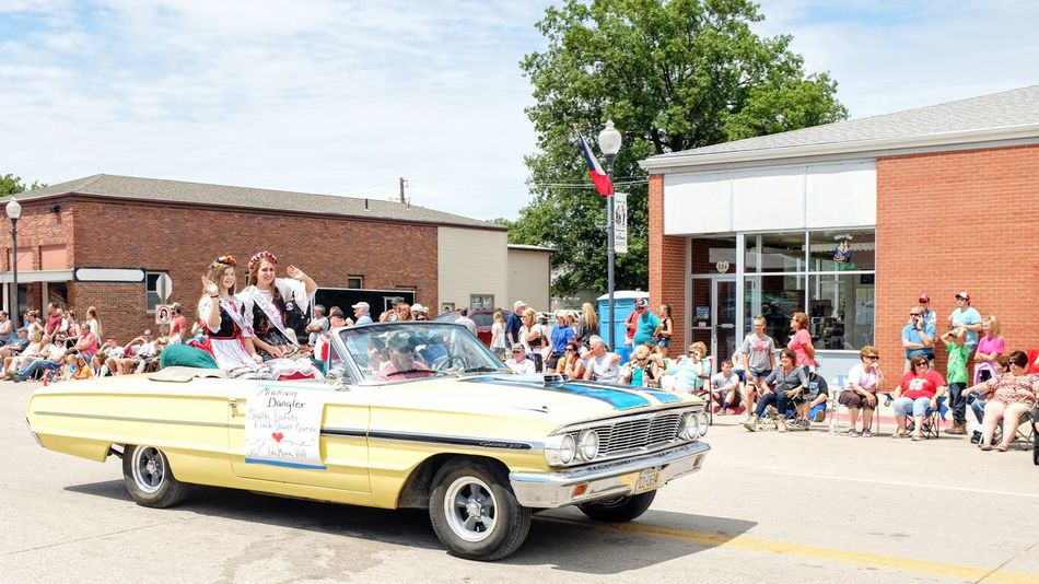55th Annual National Czech Festival August 5, 2016 Wilber, Nebraska Architecture Building Exterior Built Structure Casual Clothing City City Life City Street Cloud Color Photography Czech Days Czech Festival Day Event Leisure Activity Lifestyles Main Street USA Midday Sunlight Mixed Age Range Nebraska Outdoors Parade Sky Smal Town USA Tree Wilber, Nebraska