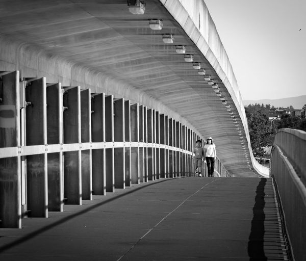 Black And White Vancouver Fraser River Bridge Transportation Walking Day Architecture Outdoors City